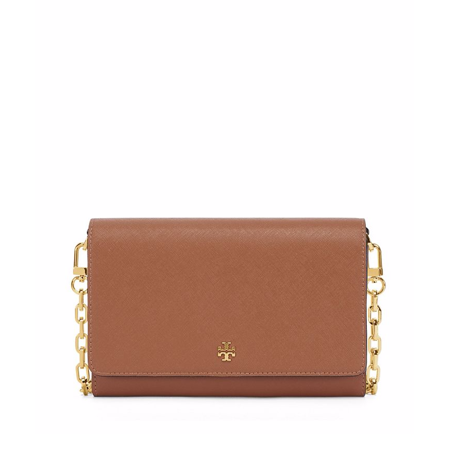 NEW TORY BURCH EMERSON ROBINSON CHAIN SAFFIANO LEATHER WALLET CROSSBODY (Tory Leather Single)