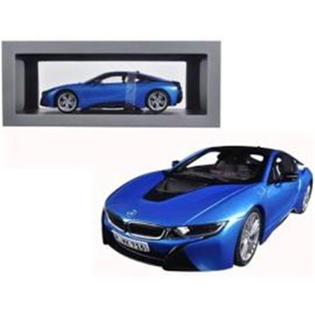 BMW i8 Protonic Blue and Frozen Grey 1/18 Diecast Model Car by Paragon - Frozen Cards