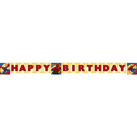 Spider-man Spider-sense Birthday Banner (8 ft), Has 3 pictures of Spiderman By Party Express