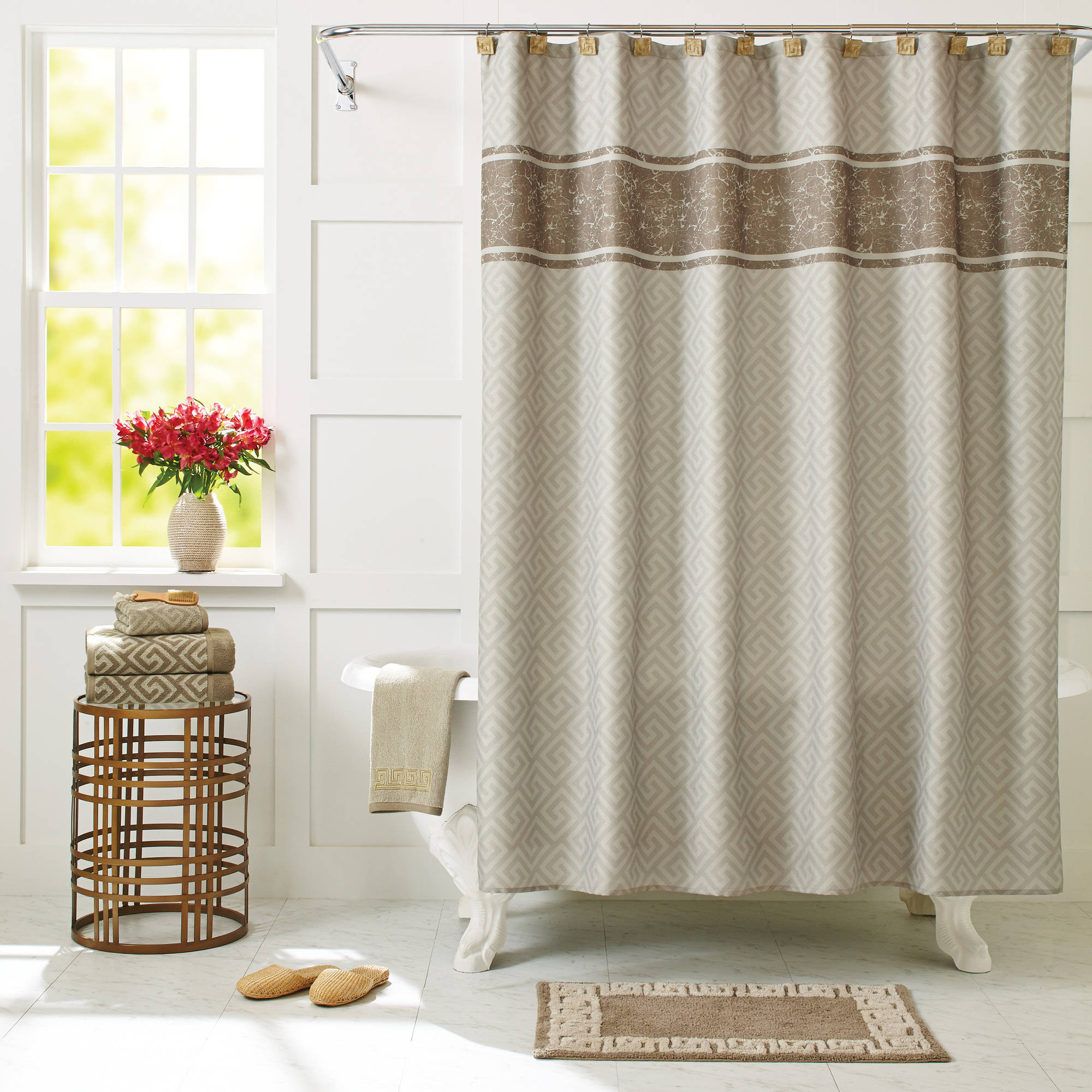 better homes and gardens greek key shower curtain - walmart