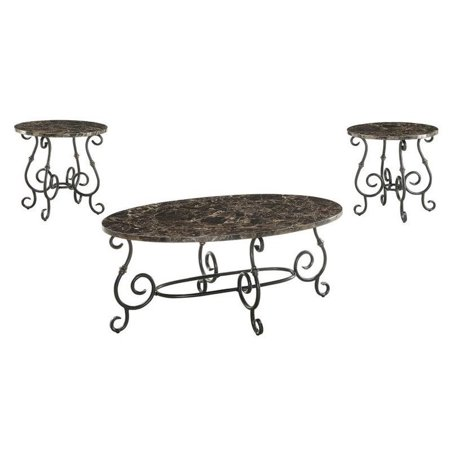 coaster 3 piece faux marble top coffee table set in black walmart