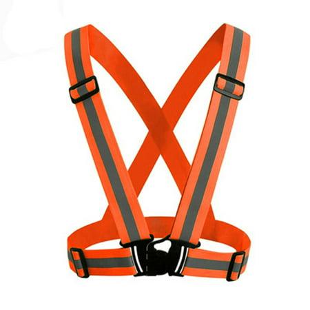 Smart Novelty Visibility Neon Vest Reflective Belt Safety Vest Fit for Running Cycling -