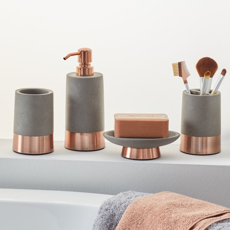 MoDRN 4 Piece Concrete with Copper Accent Bath Accessory Set ()