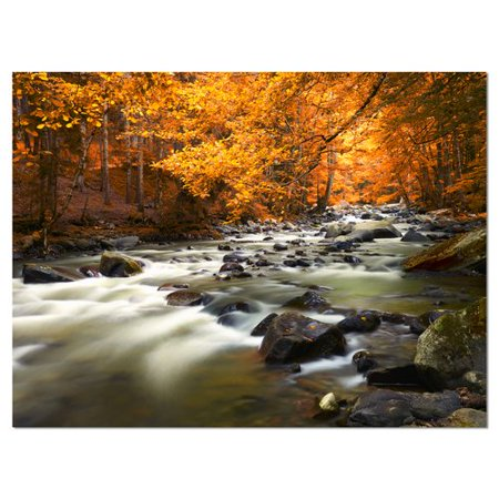 Autumn Design - Design Art 'Autumn Terrai with Trees and River' Graphic Art on Wrapped Canvas