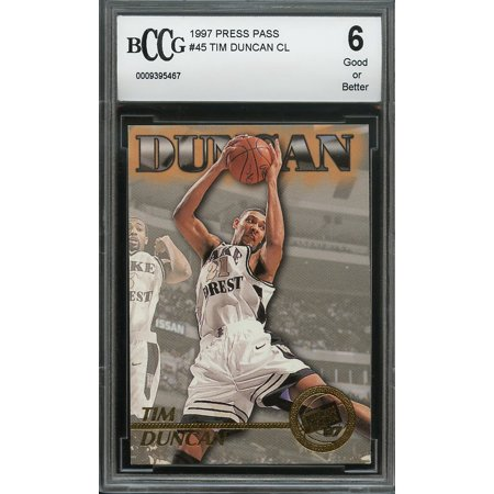 1997 press pass #45 TIME DUNCAN CL san antonio spurs rookie card BGS BCCG 6