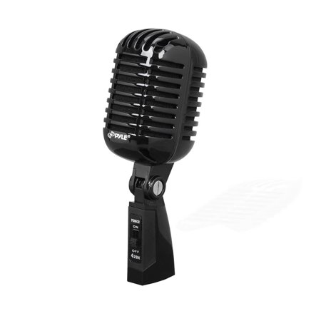 PYLE PDMICR42BK - Classic Retro Dynamic Vocal Microphone, Vintage Style Vocal Mic with 16 ft. XLR Cable (Black)