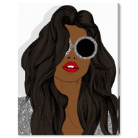 Runway Avenue Fashion and Glam Wall Art Canvas Prints 'Brunette Glitter Sunglasses' Accessories - Brown, Gray