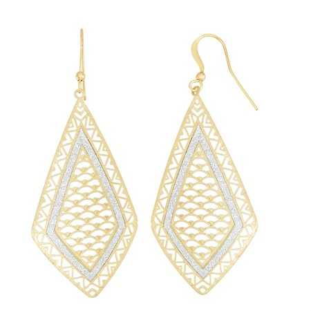 X & O 14KT Gold Plated Diamond Drop Earring with (Diamond Crystal Drop)
