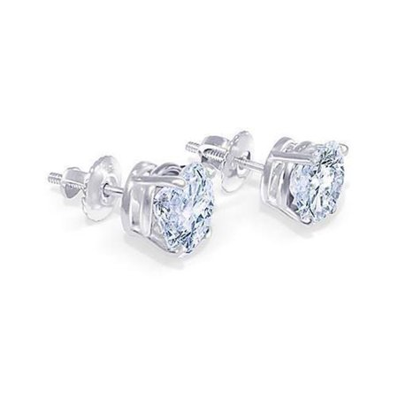 Harry Chad Enterprises 2222 1.80 CT Round Cut Diamond G SI1 Stud Pair Earring - 14K White Gold - image 1 of 1