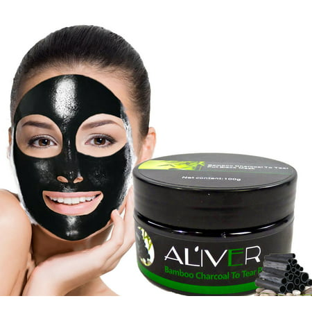 Black Bamboo Charcoal Peal Off Face Mask - Deep Cleansing Blackhead Removal - Whitehead Acne Opens Clogged Pores Leaves Face Soft and Smooth