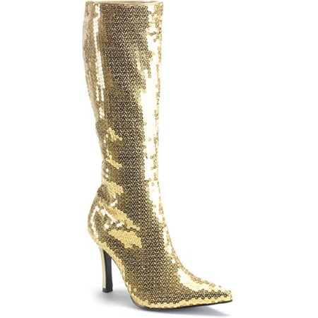 Women's Sexy Boots 3 3/4 Inch Gold Sequins Knee Boot High Heel