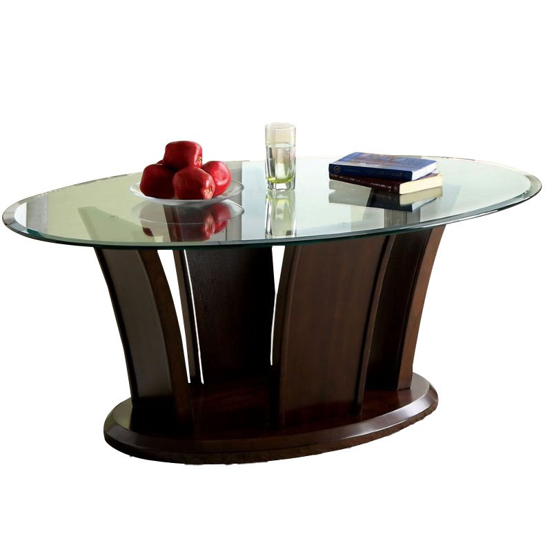 Furniture of America Lantler Glass Top Coffee Table in Dark Cherry