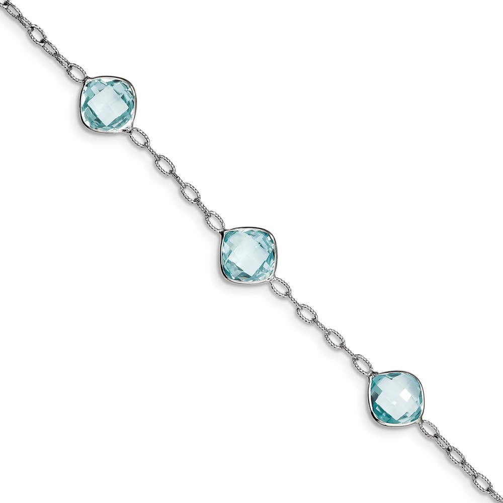 Sterling Silver Blue Simulated Topaz Bracelet with Secure Lobster Lock Clasp (11mm) by AA Jewels