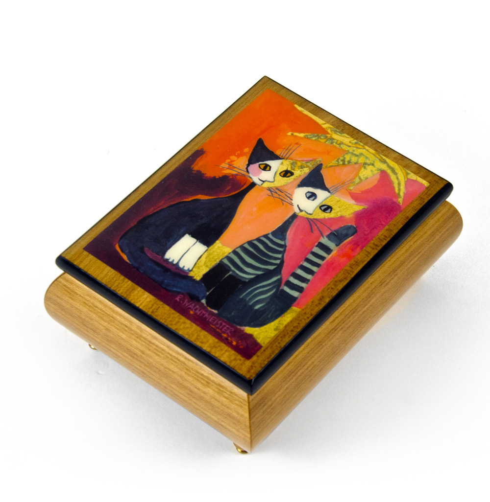 """Handcrafted Italian Ercolano Musical Jewelry Box - """"Together"""" By Rosina Wachtmeister - Where Have All the Flowers Gone"""