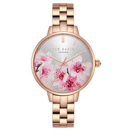 Ted Baker Kate Silver Flowers Dial Rose Gold Steel Women's Watch TE50648001 ()