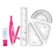 DELI Geometry Set, 8 Pieces, Protractor, Divider, Ruler, Compass, Eraser, Sharpener