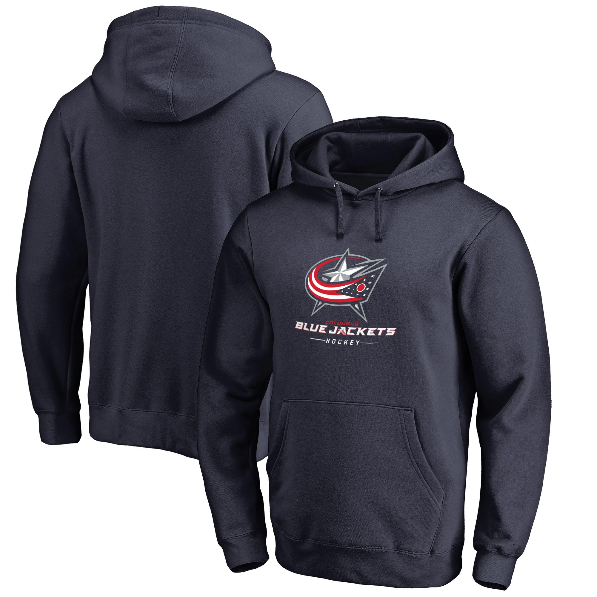 Columbus Blue Jackets Team Lockup Pullover Hoodie - Navy