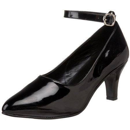 7cd45c3c5b6 3 inch womens sexy shoes block heel pump with ankle strap black patent