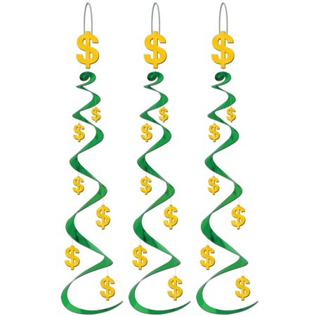 Club Pack Of 18 Green And Yellow Dollar Sign Whirl Hanging Decorations 30