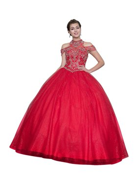 f9528451c50c Product Image Calla Collection Womens Red Halter Neck Quinceanera Ball Dress