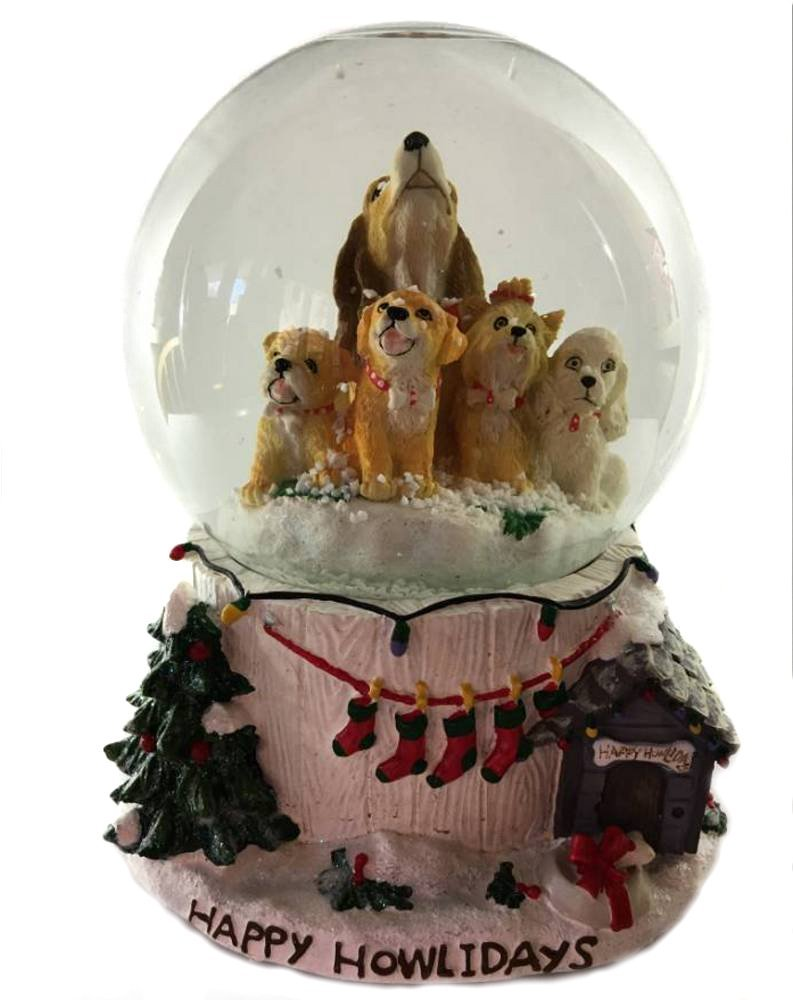 Retired San Francisco Music Box *Happy Howlidays* Dog Waterglobe ...