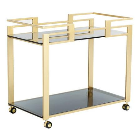 ARTeFAC - Glamorous Bar Cart With Matte Gold Steel Frame - image 1 de 2