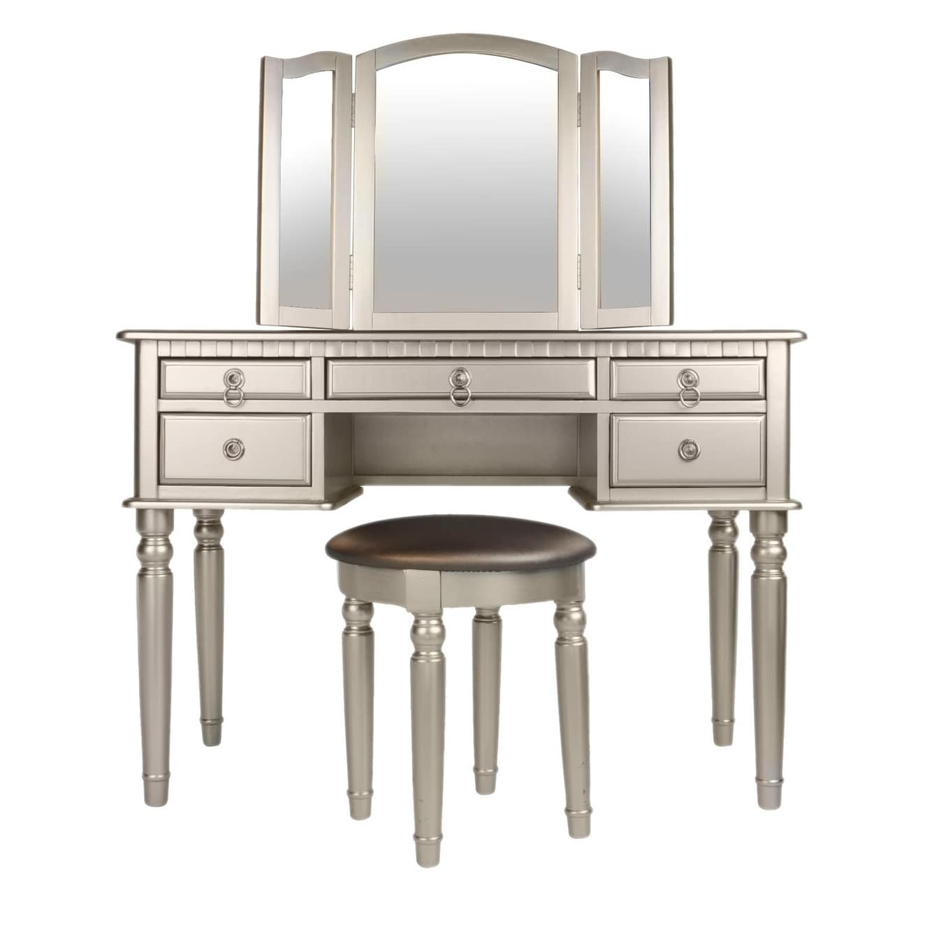 Bobkona St Croix 3 Fold Mirror Vanity Table With Stool Set In Cherry