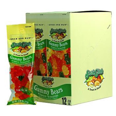 Product Of Snak Club, Gummy Bears - Tube, Ct 12 - Sugar Candy / Grab Varieties & Flavors (Gummy Bear Candy)