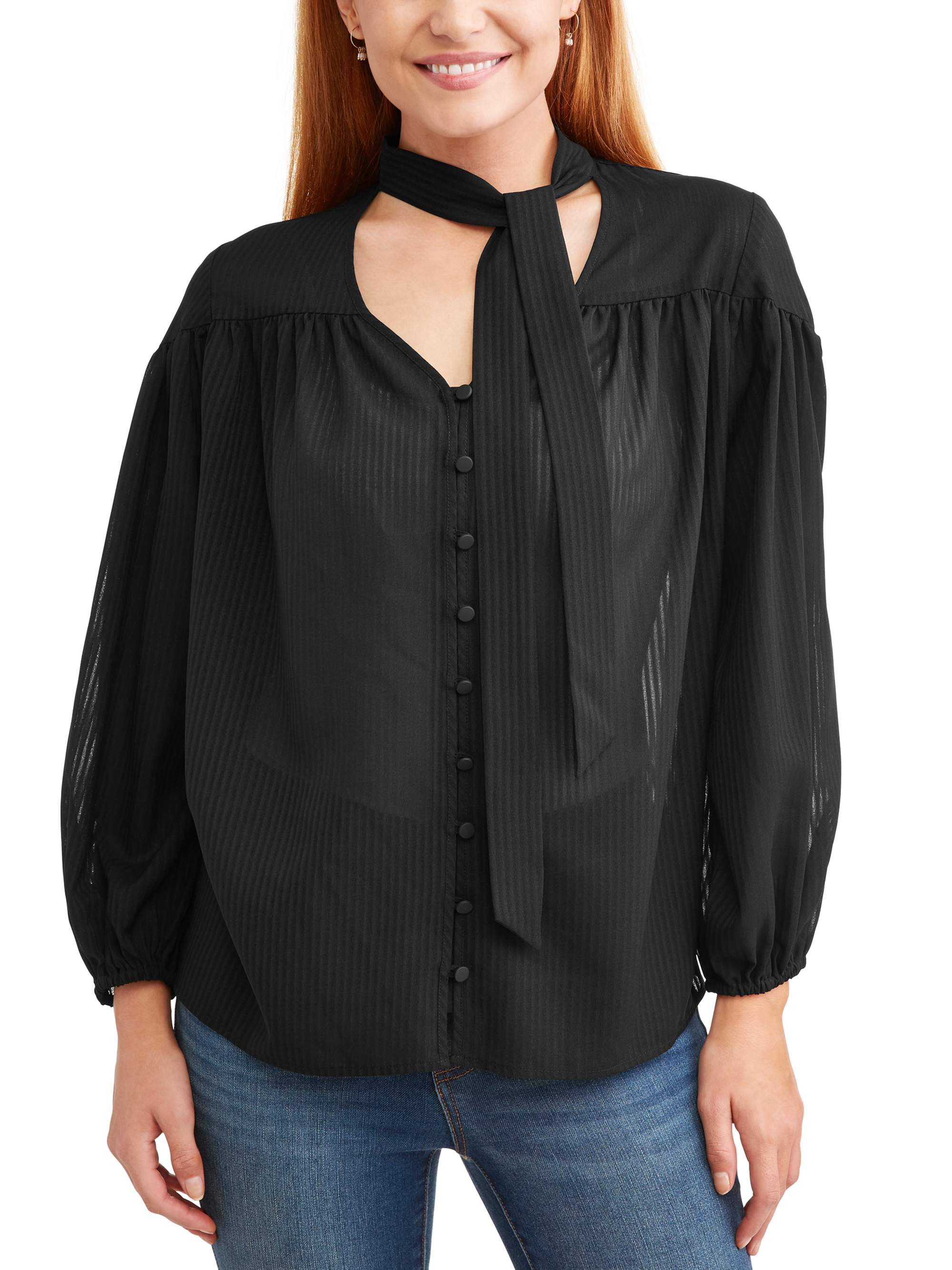 Women's Long Sleeve Tie Neck Top