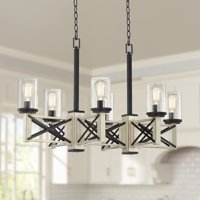 "Franklin Iron Works Black White Wash Wood Linear Pendant Chandelier 39 1/2"" Wide Rustic Farmhouse LED 6-Light for Kitchen Island"