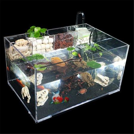 Moaere 5.5 Gallon Acrylic Desktop Aquarium Fish Tank Kit with Water Pump Filter Home Office Decor - image 13 de 13