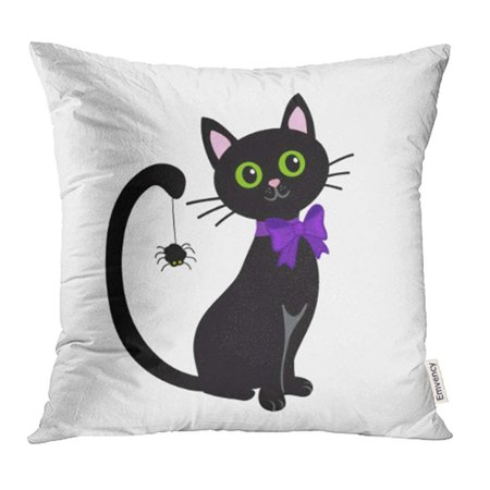 CMFUN Orange Silhouette Cute Black Cat White Halloween Cartoon Boo Bow Broom Clip Pillow Case Pillow Cover 20x20 inch Throw Pillow - Halloween Cartoon Clip Art