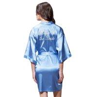 Turquaz Linen Satin Kimono Rhinestone Mother of The Bride Robe (Small/Medium, Airy Blue)