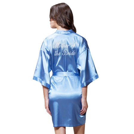 Turquaz Linen Satin Kimono Rhinestone Mother of The Bride Robe (Small/Medium, Airy Blue) - Orange Robe
