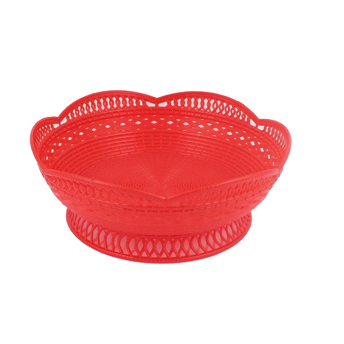 Unique Bargains Hard Plastic Round Shaped Flower Edge Fruit Vegetable Basket Holder Red