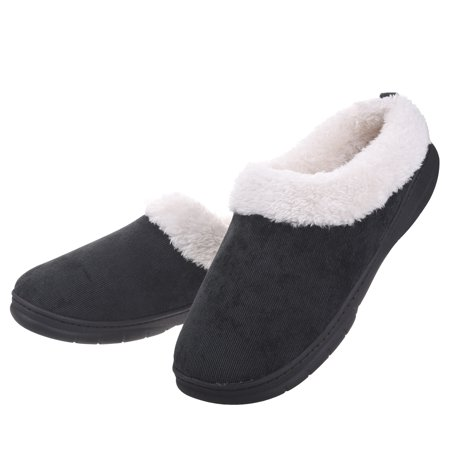 Men Memory Foam Faux Fur House Shoes - Fleece Plush Lining Slip on Clog Slippers Indoor Outdoor