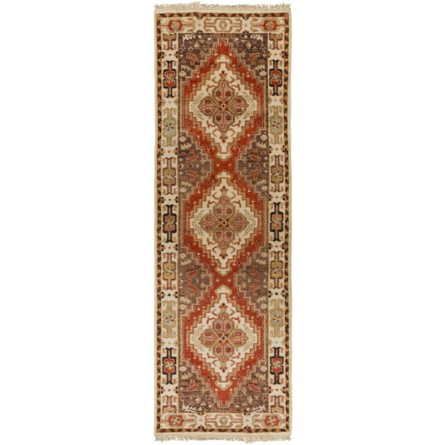 2.5' x 8' Fire Pit Cinnamon Red and Pecan Brown Wool Area Throw Rug Runner