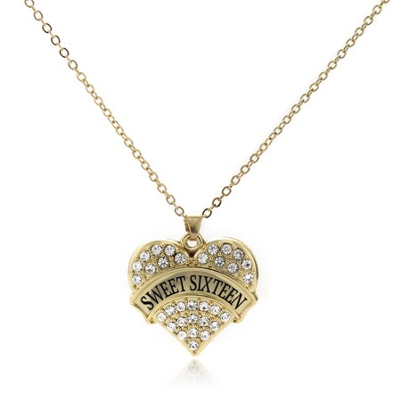 Sweet Sixteen Gold Pave Heart Charm Necklace