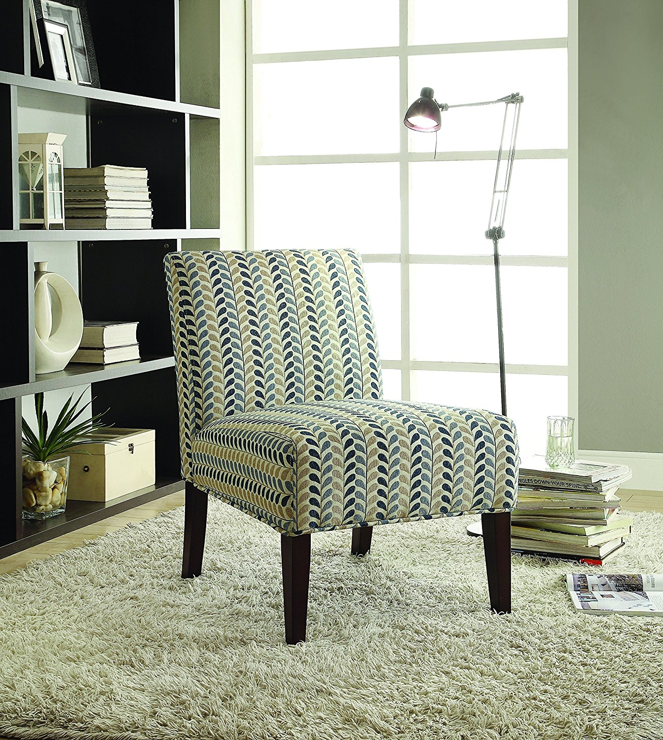 Coaster Home Furnishings 902059 Contemporary Leaf Armless Accent Chair, Blue and Beige by Coaster Home Furnishings