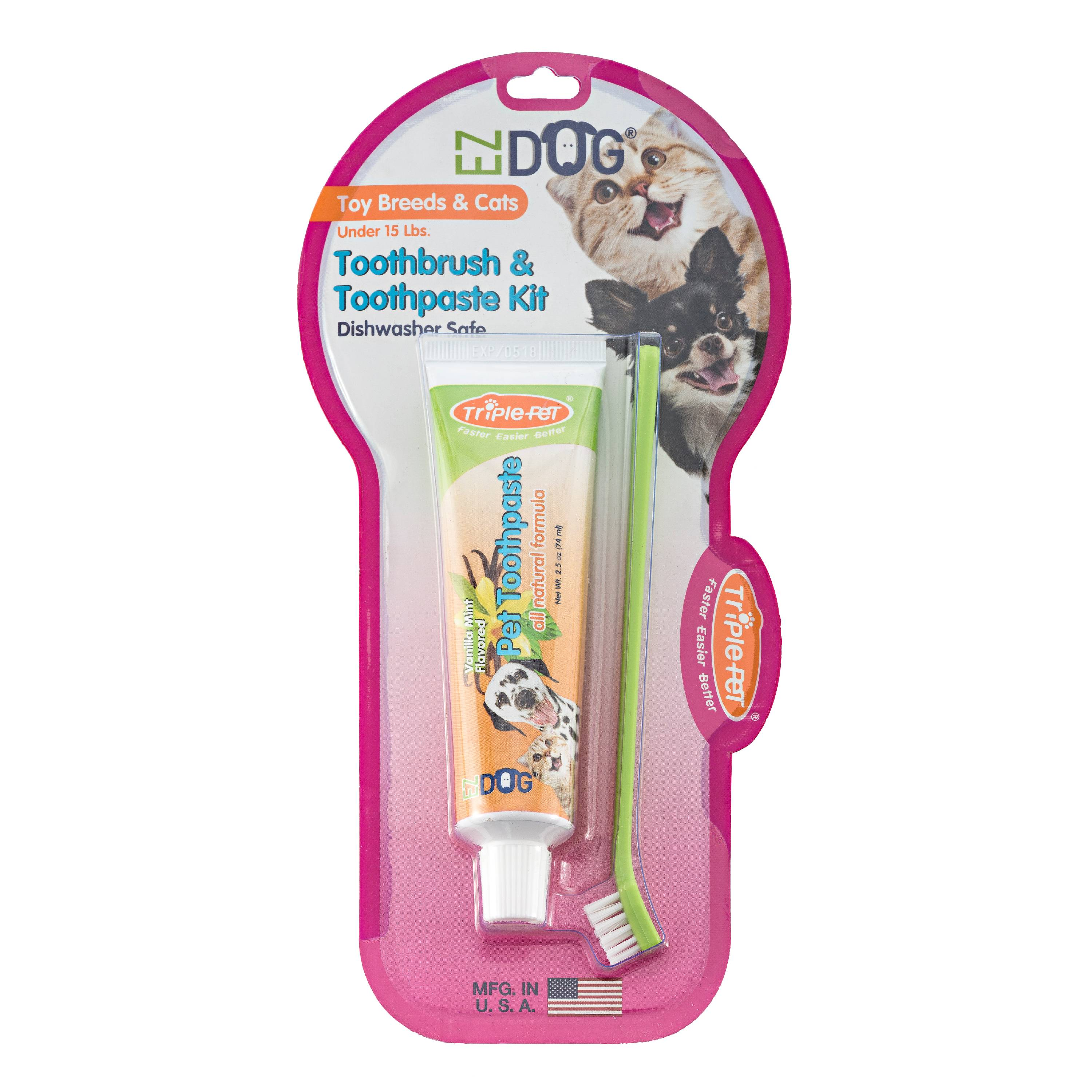 Triple Pet EZ Dog Toothbrush and Toothpaste Kit