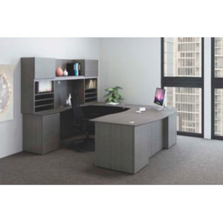 Boss Reclaim Office Complete U-Shaped Wrap-Around Workstation with File Cabinet and Reversible Bridge ()