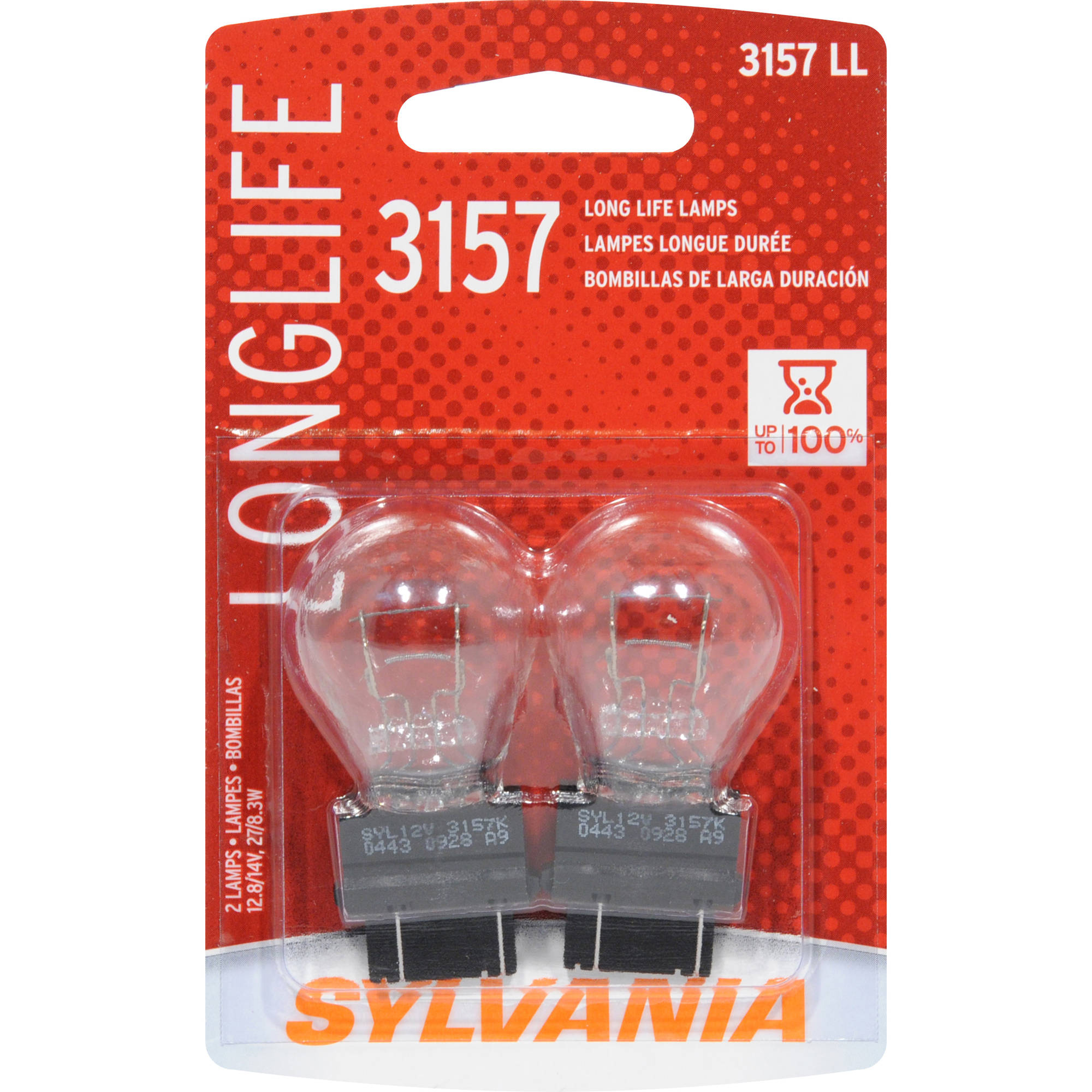 2-PK SYLVANIA 3157 P27/7W Long Life Automotive Light Bulb