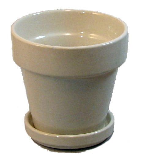 "Ceramic Pot and Saucer plus Felt Feet - Creamy White - 5.5"" x 5.5"""