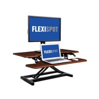 """FlexiSpot M7MN Stand Up desk Converter -35"""" Standing desk Riser with Deep Keyboard Tray for laptop (35"""", Mahogany)"""