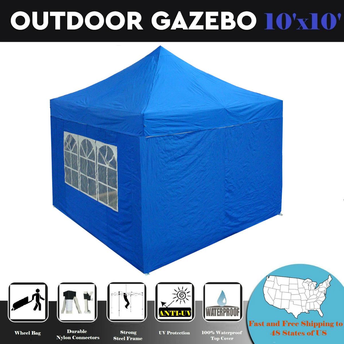 10'x10' Pop up Canopy Wedding Party Tent Gazebo EZ Blue -