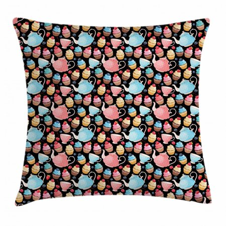 Tea Throw Pillow Cushion Cover, Sweet Muffins Cupcakes with Blueberries Polka Dots Style Vintage Ceramic Teapots Kitsch, Decorative Square Accent Pillow Case, 18 X 18 Inches, Multicolor, by Ambesonne