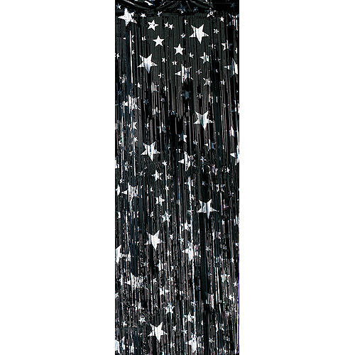 Premium Foil Entryway Curtains, Black with Silver Stars