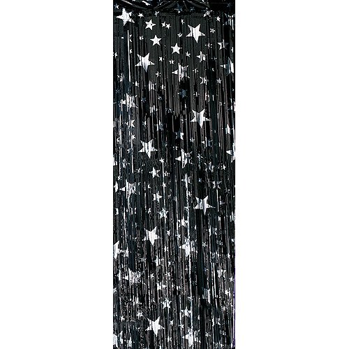 Premium Foil Entryway Curtains Black With Silver Stars