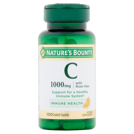 Natures Aid Rose (Nature's Bounty Vitamin C with Rose Hips, 1000mg Coated Caplets, 100ct )