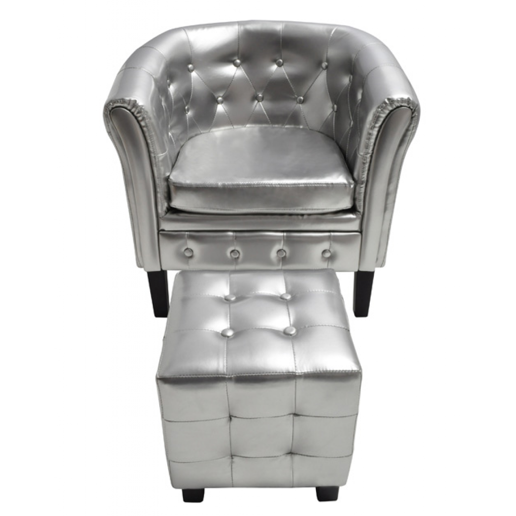 Anself Artificial Leather Tub Chair Armchair with Footrest Silver